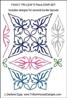 Digital Quilting Design Fancy Tri Leaf DWR Set by Darlene Epp.