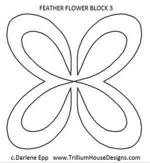 Digital Quilting Design Feather Flower Block 3 by Darlene Epp.