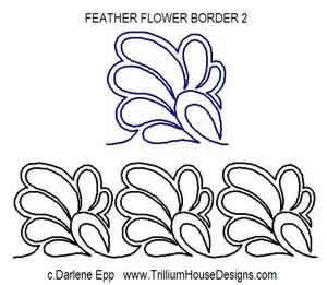 Digital Quilting Design Feather Flower Border 3 by Darlene Epp.