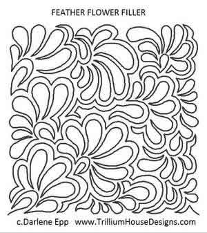 Digital Quilting Design Feather Flower Filler by Darlene Epp.