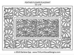 Digital Quilting Design Feather Flower Placemat by Darlene Epp.