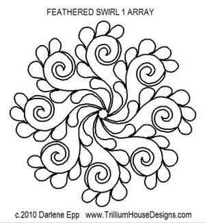 Digital Quilting Design Feathered Swirl 1 Array by Darlene Epp.