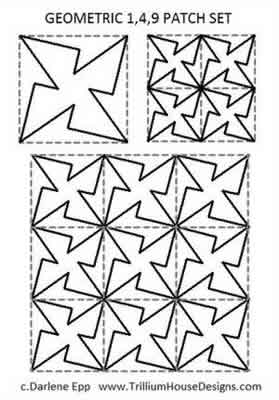 Digital Quilting Design Geometric Continuous Curve Set by Darlene Epp.