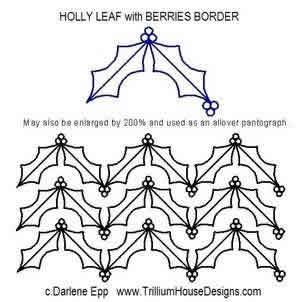 Digital Quilting Design Holly Leaf Border with Berries by Darlene Epp.