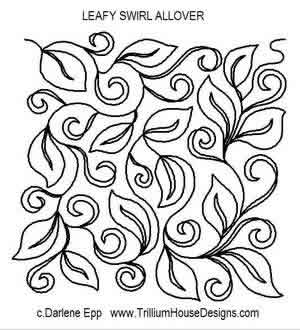 Digital Quilting Design Leafy Swirl Allover by Darlene Epp.