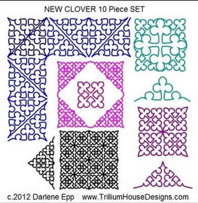 Digital Quilting Design New Clover Set by Darlene Epp.