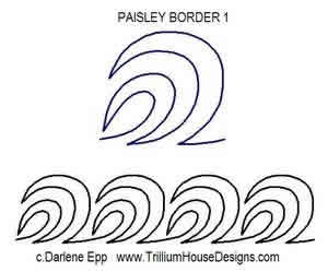 Digital Quilting Design Paisley Border 1 by Darlene Epp.