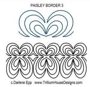 Digital Quilting Design Paisley Border 3 by Darlene Epp.