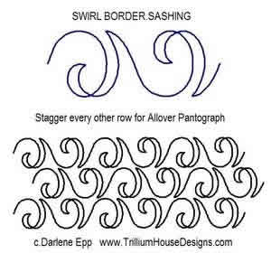 Digital Quilting Design Swirl Border Sashing by Darlene Epp.