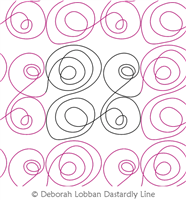 Constrained Swirls by Deborah Lobban. This image demonstrates how this computerized pattern will stitch out once loaded on your robotic quilting system. A full page pdf is included with the design download.