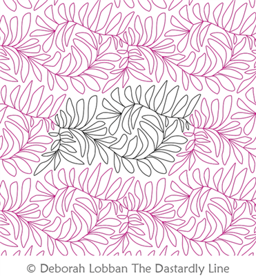 Feather Fern by Deborah Lobban. This image demonstrates how this computerized pattern will stitch out once loaded on your robotic quilting system. A full page pdf is included with the design download.