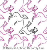 Greyhounds by Deborah Lobban. This image demonstrates how this computerized pattern will stitch out once loaded on your robotic quilting system. A full page pdf is included with the design download.