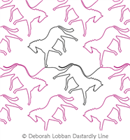 Horses by Deborah Lobban. This image demonstrates how this computerized pattern will stitch out once loaded on your robotic quilting system. A full page pdf is included with the design download.