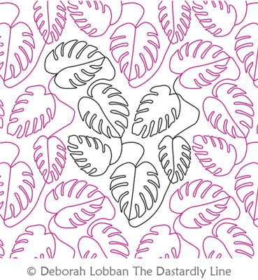 Monstera by Deborah Lobban. This image demonstrates how this computerized pattern will stitch out once loaded on your robotic quilting system. A full page pdf is included with the design download.