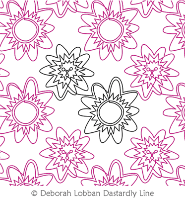 Passionflower by Deborah Lobban. This image demonstrates how this computerized pattern will stitch out once loaded on your robotic quilting system. A full page pdf is included with the design download.