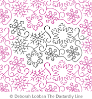 Snowflakes by Deborah Lobban. This image demonstrates how this computerized pattern will stitch out once loaded on your robotic quilting system. A full page pdf is included with the design download.