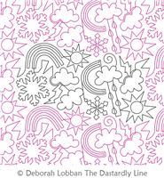 Weather by Deborah Lobban. This image demonstrates how this computerized pattern will stitch out once loaded on your robotic quilting system. A full page pdf is included with the design download.