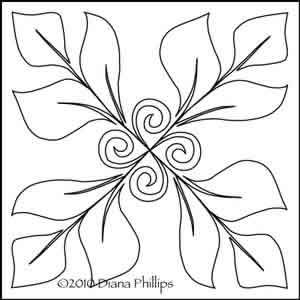 Digital Quilting Design Diana's Swirling Leaves by Diana Phillips.