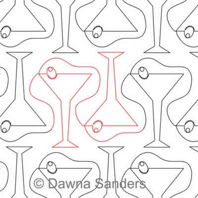 Digital Quilting Design Cocktails by Dawna Sanders.