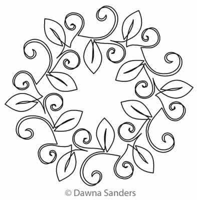 Digital Quilting Design Orchard Leaves Wreath 2 by Dawna Sanders.