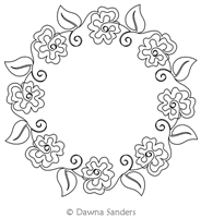 Twirling Hibiscus Wreath by Dawna Sanders. This image demonstrates how this computerized pattern will stitch out once loaded on your robotic quilting system. A full page pdf is included with the design download.