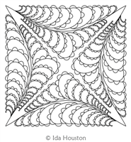 Bumpy Feathers Block 3 by Ida Houston. This image demonstrates how this computerized pattern will stitch out once loaded on your robotic quilting system. A full page pdf is included with the design download.
