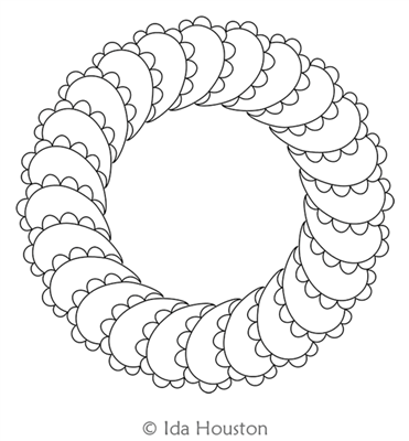 Bumpy Feathers Wreath by Ida Houston. This image demonstrates how this computerized pattern will stitch out once loaded on your robotic quilting system. A full page pdf is included with the design download.
