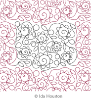 Flower Power Panto by Ida Houston. This image demonstrates how this computerized pattern will stitch out once loaded on your robotic quilting system. A full page pdf is included with the design download.