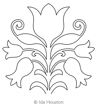 Folk Tulip Motif by Ida Houston. This image demonstrates how this computerized pattern will stitch out once loaded on your robotic quilting system. A full page pdf is included with the design download.