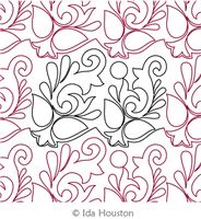 French Flourish Panto by Ida Houston. This image demonstrates how this computerized pattern will stitch out once loaded on your robotic quilting system. A full page pdf is included with the design download.