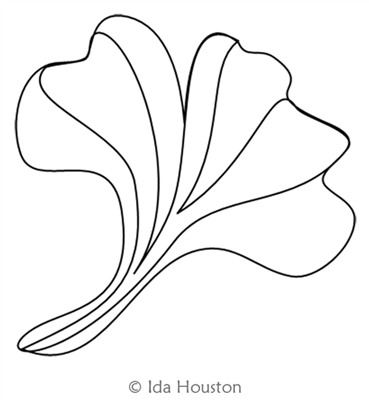 Gingko Glory Leaf by Ida Houston. This image demonstrates how this computerized pattern will stitch out once loaded on your robotic quilting system. A full page pdf is included with the design download.