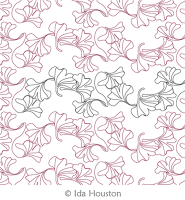 Gingko Glory Pantograph by Ida Houston. This image demonstrates how this computerized pattern will stitch out once loaded on your robotic quilting system. A full page pdf is included with the design download.