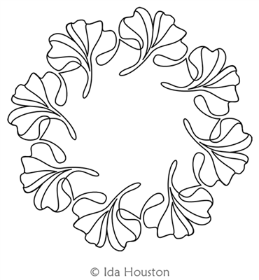 Gingko Glory Wreath by Ida Houston. This image demonstrates how this computerized pattern will stitch out once loaded on your robotic quilting system. A full page pdf is included with the design download.