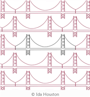 Golden Gate Bridge Block or Panto by Ida Houston. This image demonstrates how this computerized pattern will stitch out once loaded on your robotic quilting system. A full page pdf is included with the design download.