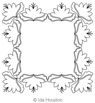 Jacobean Garden Frame by Ida Houston. This image demonstrates how this computerized pattern will stitch out once loaded on your robotic quilting system. A full page pdf is included with the design download.