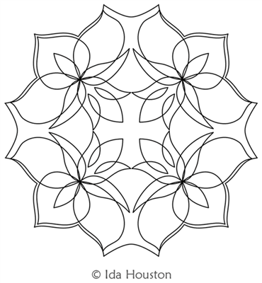 Lotus Lily Block 2 by Ida Houston. This image demonstrates how this computerized pattern will stitch out once loaded on your robotic quilting system. A full page pdf is included with the design download.