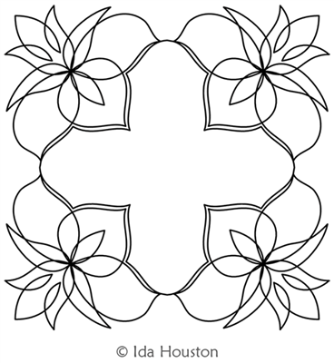 Lotus Lily Block by Ida Houston. This image demonstrates how this computerized pattern will stitch out once loaded on your robotic quilting system. A full page pdf is included with the design download.