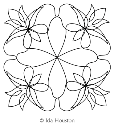 Lotus Lily Block 3 by Ida Houston. This image demonstrates how this computerized pattern will stitch out once loaded on your robotic quilting system. A full page pdf is included with the design download.