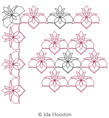 Lotus Lily Border and Corner by Ida Houston. This image demonstrates how this computerized pattern will stitch out once loaded on your robotic quilting system. A full page pdf is included with the design download.