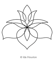 Lotus Lily Motif by Ida Houston. This image demonstrates how this computerized pattern will stitch out once loaded on your robotic quilting system. A full page pdf is included with the design download.