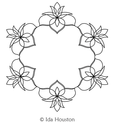 Lotus Lily Wreath by Ida Houston. This image demonstrates how this computerized pattern will stitch out once loaded on your robotic quilting system. A full page pdf is included with the design download.
