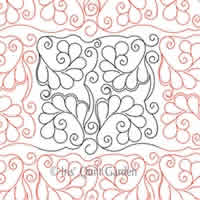 Digital Quilting Design Curly Feathers Block or Panto by Iris QuiltGarden.