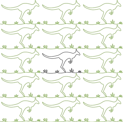 Digital Quilting Design Kangaroo Jumping Border or Panto by Judy Barr.