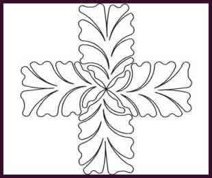 Digital Quilting Design Feather Cross by JoAnn Hoffman.