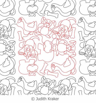 Digital Quilting Design Dog Hippo Rabbit Goose Panto by Judith Kraker.