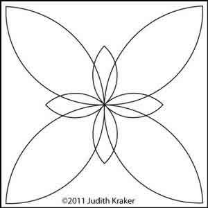Digital Quilting Design Double Petals Block by Judith Kraker.