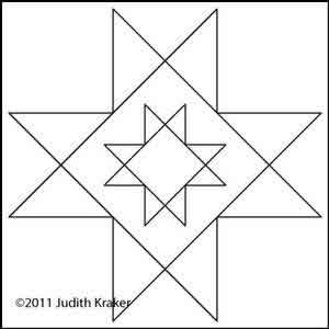 Digital Quilting Design Double Star Block by Judith Kraker.