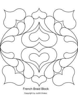 Digital Quilting Design French Braid Set 1 Block by Judith Kraker.