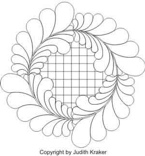 Digital Quilting Design Feather Circle Block with Crosshatch by Judith Kraker.