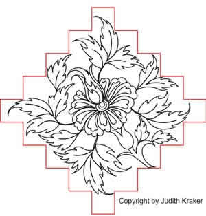Digital Quilting Design Jacob Flower Triple Chain Block by Judith Kraker.
